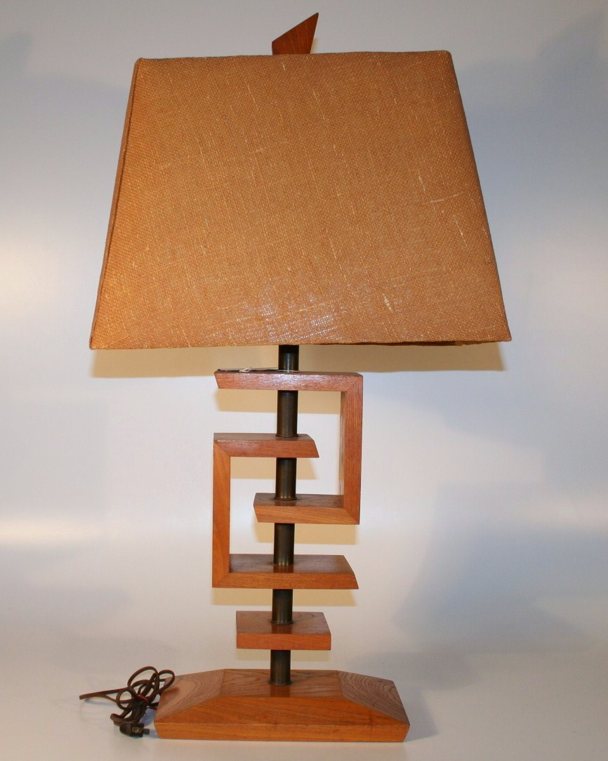168 mid century modern lamp lamp is with original finial and shade